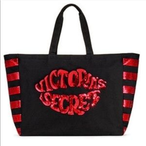 NWT Victoria's Secret Red Sequins Lips Tote Bag